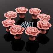 WICOO 10PCS Pink Flower Ceramic Cabinet Hardware For Chest Of Drawers Door Knobs,decorative Rose Porcelain handles for furniture