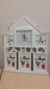 Decor Hut white MDF family house picture frame, with clock, 5 slots for pictures 3 10cm by 15cm and 10cm by 10cm