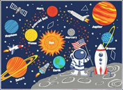 Kids Rug Educational Learning Carpet Galaxy Planets Stars Blue 1m x 11cm Children's Fun Area Rug Nursery Rugs Solar System Rectangle Rug