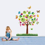 BIBITIME Colourful Tree Butterfly Wall Sticker Decals Room Decor Vinyl Mural Kids Nursery