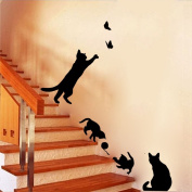 BIBITIME 2 Butterfly 4 Cats Play Living Room Decor Removable Decal Vinyl Mural Art PVC Wall Sticker