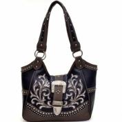 Ritz Enterprises BT947-FU Western Rhinestone Buckle Accent Embroidered Purse Handbag - Fuchsia