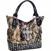 Ritz Enterprises CRL662-BK Western Camouflage Cross Accent Rhinestone Bling Purse - Black