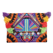 Ethnic Lanna, Handmade Hmong Deco Jaw Clutch Bag with Coins, Bells and Pom Pom Fringe.