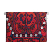 Ethnic Lanna, Handmade Hmong Bird Pattern Clutch Bag with Coins.