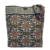 Celtic Tote Bag Quilted Navy Book of Kells Design
