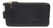 Coach Pebbled Leather Double Zip Wallet Wristlet Black 54056