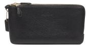 Coach Pebbled Leather Double Zip Wallet Wristlet Black 54056