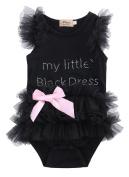 Baby Girls Embroidered Little Black Dress Bodysuit Tutu Romper