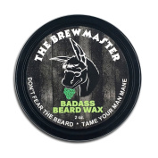 Badass Beard Care Beard Wax For Men - The Brewmaster, 60ml - Natural Ingredients, Keeps Beard and Moustache Full, Soft and Healthy, Reduce Itchy and Flaky Skin, Promote Thicker and Faster Hair Growth