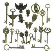 Aokbean Mix 21Pcs Jewellery Making Charms Craft keys Decorative Key Vintage Skeleton Key in Antique Bronze Style No Repeat