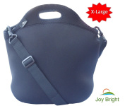 EXTRA LARGE Neoprene Lunch Bag - Best Lunch Tote With Heavy Duty Zipper and Shoulder Strap - Reusable Easy To Clean - Keeps Lunch Fresh - Eco-friendly Black Cooler Bag, By Joy BrightTM