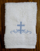 Integrity Designs Cotton Terrycloth Baptism/Christening Cloth, White with Blue Cross and Scroll Embroidery, 100% Cotton, 33cm x 33cm Size, Quantity of 1 per package, Elegant and Practical Heirloom Baby Keepsake Gift