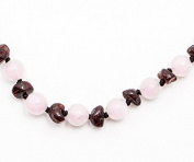 100% Certified Balticamber Pop Clasp Baby Necklace with Gemstones, Tender Rose Quartz, 27cm