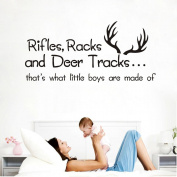Rifles, Racks and Deer Tracks That's What Little Boys Are Made Of Wall Decals Vinyl Quote Lettering Words Quote baby boy wall decals