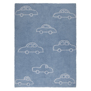 Lorena Canals Blue Cars Washable Children's Rug - Machine Washable, Perfect for the Nursery - Handmade from 100% Natural Cotton and Non-Toxic Dyes