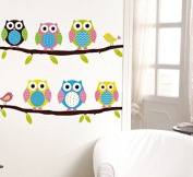 1 X Six Owls on Tree Branch Vinyl Wall Decal for Kids, Nursery Room