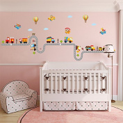 B & Y Decorative Peel Vinyl Wall Sticker Kids Baby Rooms Nursery Removable Decals - Happy Train