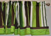 Pollywog Pond Green and Brown Striped Window Valence with Embroidery