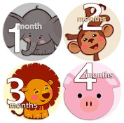 ANIMAL FACES TWO 1-12 Months Baby Monthly One Piece Stickers Baby Shower Gift Photo Shower Stickers