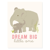 Sea Urchin Studio Dream Big Art Poster for Girls, Grey/Pink, 30cm x 41cm
