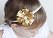 Golden Beam - Baby Flower Headband - Flower Girl Headband - Satin Petal Flower Handmade Headband - Newborn to Adult Headband