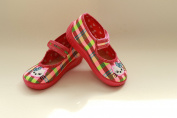 Slippers,Toddlers, Girls,Velcro, Snap, Laced shoes, Multicoloured, Lovely colours,Countured Footbed,Delicately stiffened, Natural material,Anti-skidding, UK size 2, 3, 4, 5, 6, 7 Rainbow Kitten
