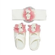 baby girls infant kids toddler flower and bear headband barefoot sandal shoes sets