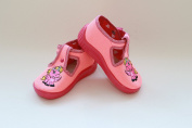 Slippers,Toddlers, Girls,Velcro, Snap, Laced shoes, Multicoloured, Lovely colours,Countured Footbed,Delicately stiffened, Natural material,Anti-skidding, UK size 2, 3, 4, Pink Pony