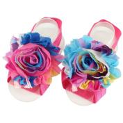 ZebraStory Unisex Baby Barefoot Sandals Elastic Chiffon Cloth Sunflower Foot Band