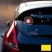 Car Sticker Rear Window Sticker Car Sticker Baby Name Dandelion M1864, Lemon yellow, L - 32cm breit x 30cm hoch