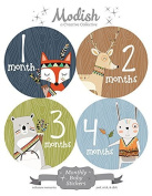 12 Monthly Baby Stickers, Woodland Baby Month Stickers, Woodland, Tribal, Fox, Deer, Bear, Rabbit, Boy, Baby Belly Stickers, Monthly Onesie Stickers, First Year Stickers Months 1-12, Baby Boy