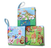 First Year Soft Cloth Baby Books for Infants - Set of 3 - Bright Colour Pictures - for boys or girls - visual learning.