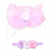 Amueleopard Photography Prop Newborn Baby Girls Angel Feather Wings Costume Outfit with Headband Christening Gift Set Pink