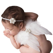 Amueleopard Photography Prop Newborn Baby Girls Angel Feather Wings Costume Outfit with Headband Christening Gift Set Stle 1