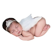 Amueleopard Photography Prop Newborn Baby Girls Angel Feather Wings Costume Outfit with Headband Christening Gift Set Style 2