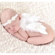 Amueleopard Photography Prop Newborn Baby Girls Angel Feather Wings Costume Outfit with Headband Christening Gift Set Stle 4