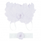 Amueleopard Photography Prop Newborn Baby Girls Angel Feather Wings Costume Outfit with Headband Christening Gift Set Style 1 White