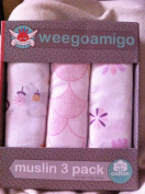 Weegoamigo Three Pack Baby Muslin Swaddle Blanket - Pink