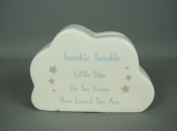 Ceramic Blue and White Little Boys Cloud Money Box with Twinkle Twinkle Verse
