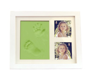 BXT Double Baby Toddler Handprints Footprints Frame Casting Impression Kit with Delicate Baby Photo Frame Set Baby Christening Gift Christmas Keepsake