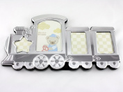 Skyway Train Baby Picture Photo Frame Keepsake Silver - Engravable