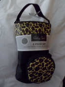 Baby Sac 2-Piece set Insulated Bottle Holder and Pacifier Holder - Black with Leopard Print
