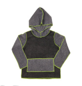 Hej Kid's Ida Fleece Hoodie, Grey/Lime, 2T-3T