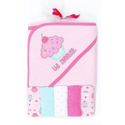 "Cupcake ""Sweetest"" Hooded Towel and Colourful Washcloth Set, 6 Piece, Pink"