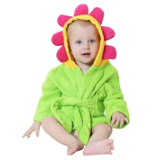 DINGANG® Baby Hooded Bathrobe   Super Soft and Absorbent Cotton Baby Bathrobe with Towel Flower Hooded, Perfect for Baby 0 to 2 Years Old, Green