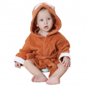 DINGANG® Baby Hooded Bathrobe   Super Soft and Absorbent Cotton Baby Bathrobe with Cute Hooded, Perfect for Baby 0 to 2 Years Old, Brown