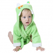 DINGANG® Baby Hooded Bathrobe   Super Soft and Absorbent Cotton Baby Bathrobe with Cute Hooded, Perfect for Baby 0 to 2 Years Old, Green