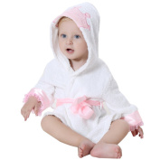 DINGANG® Baby Hooded Bathrobe   Super Soft and Absorbent Cotton Baby Bathrobe with Cute Hooded, Perfect for Baby 0 to 2 Years Old, White