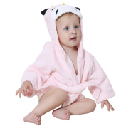 DINGANG® Baby Hooded Bathrobe | Super Soft and Absorbent Cotton Baby Bathrobe with Cute Shark Hooded, Perfect for Baby 0 to 2 Years Old, Light Pink